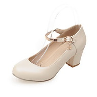 Women's PU Solid Buckle Round Closed Toe Kitten-Heels Pumps-Shoes