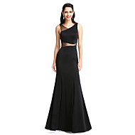 TS Couture Prom Formal Evening Dress - See Through Sheath / Column V-neck Floor-length Jersey with Pleats