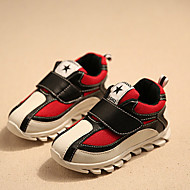 Sneakers-PU-Komfort / Rund tå-Unisex-Sort / Rød-Hverdag-Flad hæl