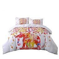 BeddingOutlet Elephant Bedding Set Tree White and Red Bedclothes Indian Style Print Double Bed Set Twin Full Queen King