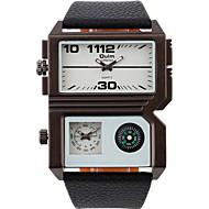 Oulm Men's Fashion Quartz Casual Dual Time Zones Compass Watch Big Alloy Dial Watch Cool Watch Unqiue Watch