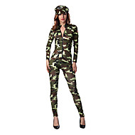 Cosplay Costumes Party Costume Soldier/Warrior Career Costumes Festival/Holiday Halloween Costumes Green Print Leotard/Onesie Dress Hats