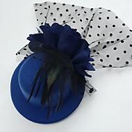Femme Plume Tulle Tissu Casque-Mariage Occasion spéciale Décontracté Coiffure Chapeau 1 Pièce