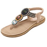 נשים-סנדלים-PU-נעלי בובה (מרי ג'יין)-שחור / Almond-שמלה / קז'ואל-עקב שטוח