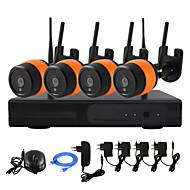 yanse® 4 csatornás vezeték nélküli 1.3MP kamera ir NVR kit 960p HDMI p2p WiFi IP kamera IP66 vízálló CCTV rendszer
