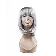 hot styl šedá smíšené stříbro dva tóny přírodními ve stylu bob vlasy s přímými údery syntetické paruky capless