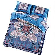 Цветы Пододеяльник наборы 4 предмета Хлопок Узор Активный краситель Хлопок Queen 4 шт. (1 пододеяльник, 1 простынь, 2 наволочки)