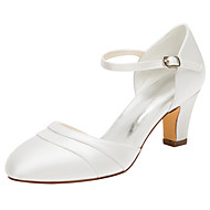 Women's Heels Spring / Fall Others Stretch Satin Wedding / Dress Chunky Heel BuckleBlack / Pink / Ivory / Silver