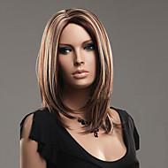 Kvinder Medium Medium gylden brun Rett Syntetisk hår Lokkløs Naturlig parykk Halloween parykk Karneval Parykk