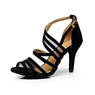 Для женщин-Бархатистая отделка-Персонализируемая(Черный) -Латина / Танцевальные кроссовки / Сальса