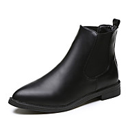 נשים-מגפיים-PU-נוחות-שחור-שמלה יומיומי-עקב שטוח