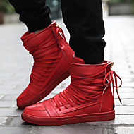 Herre-PU-Flat hæl-Komfort-Treningssko-Fritid-Svart Rød Hvit