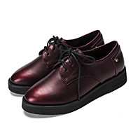 Women's Oxfords Spring / Summer / Fall / Winter Comfort  Casual Low Heel Lace-up Black / Burgundy Walking