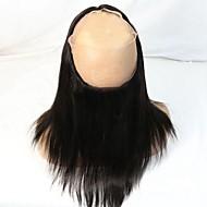 360 정면 스트라이트/일자 머리카락 폐쇄 중간 브라운 스위스 레이스 100g 그램 평균 모자 크기
