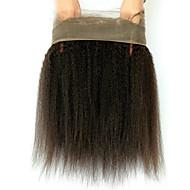 360 frontal Droit crépu Cheveux humains Fermeture Brun roux Dentelle Française 75g-95g gramme Moyenne Cap Taille