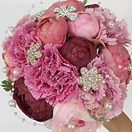"""פרחי חתונה עגול ורדים / פרחי אדמוניות זרים חתונה / חתונה/ אירוע סאטן / אבן ריין 7.87""""(לערך.20ס""""מ)"""