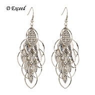 Leaf-shaped Diamond Inset Silver Alloy Drop Hook Earing For Women
