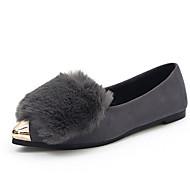 Women's Flats Fall Winter Comfort PU Fur Casual Flat Heel Black Gray Walking