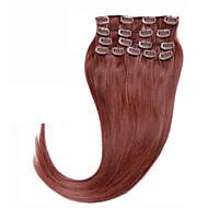 plná hlava # 33 brazilský lidské vlasy klip v rozšíření 70g 80g klipu v indickém lidských prodlužování vlasů hedvábně rovné 7ks / set