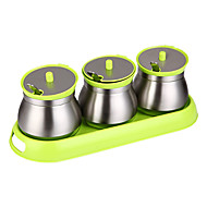 Seasoning Jar Flavor Container 3pc with Tray Food Grade Stainless Steel Tempered Glass Kitchen Accessories