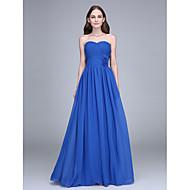 Lanting Bride® Longueur Sol Mousseline de soie Robe de Demoiselle d'Honneur  Fourreau / Colonne Sans Bretelles avec Fleur(s) / Croisé