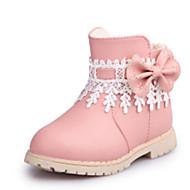 Girl's Boots Fall Winter Comfort Snow Boots PU Dress Casual Flat Heel Zipper Black Pink Red Walking