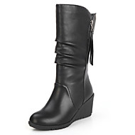 Women's Boots Winter Platform PU Office & Career Dress Casual Wedge Heel Platform Zipper Black Walking