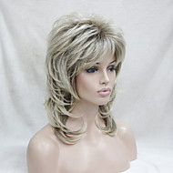 New Blonde With Dark  Root Medium Length Cascaded Layers Synthetic Hair  Women's Full Wig