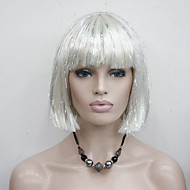 Cute White Mix With Silver Wire Straight Short Synthetic Women's Bob Party Cosplay Wigs