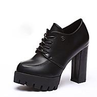 Women's Heels Spring Fall Winter Platform PU Office & Career Dress Casual Chunky Heel Platform Lace-up Black Gray Burgundy Walking