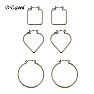 Newest Geometric Vintage Fashion Silver Round/Heart/Square Hoop Earring Set