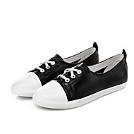 Women's Flats Spring / Summer / Fall / Winter Comfort Leather Casual Flat Heel Lace-up Black / White Others