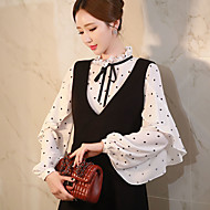 Women's Going out /Daily / Work Vintage / Cute / SophisticatedShirtPolka Dot Stand Long Sleeve