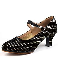 Na míru-Dámské-Taneční boty-Latina-Samet-Kačenka-Černá / Fuchsiová