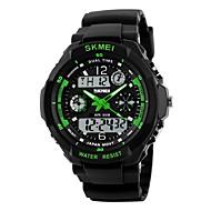 SKMEI 男性 スポーツウォッチ 軍用腕時計 リストウォッチ LED LCD カレンダー 耐水 2タイムゾーン アラーム ストップウォッチ クォーツ 日本産クォーツ ラバー バンド クール ブラック