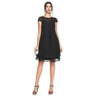 Lanting Bride® A-linje Plusstørrelse Kjole til brudens mor - Lille sort kjole Knælang Kortærmet Chiffon Blondelukning - Perler Plissé