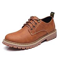 Для мужчин Туфли на шнуровке Удобная обувь Кожа Весна Осень Повседневные Удобная обувь Серый Темно-русый Темно-коричневыйНа плоской