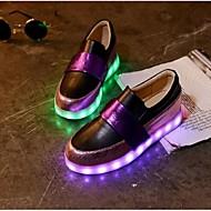 נשים-נעליים ללא שרוכים-PU-נוחות-שחור / סגול / לבן-קז'ואל