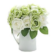 9pcs/Set 9 Ramo Seda Rosas Flor de Mesa Flores artificiais 9.5 inch