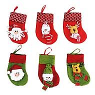 6 Pcs/lot Christmas Tree Decorations 6 Pcs/lot Santa Claus&Snowman&Deer Christmas Stockings Christmas Decorations