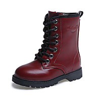 Girl's Boots Fall / Winter Snow Boots / Comfort PU Dress / Casual Flat Heel Zipper Black / Red / Burgundy Walking
