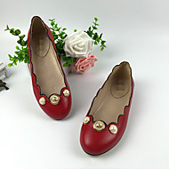 Women's Flats Spring / Summer / Fall Comfort Leather Casual Flat Heel Pearl Black / Red Others