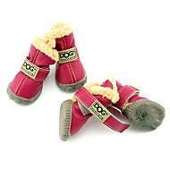 Hunde Sko & støvler Mode / Hold Varm Vinter Ensfarvet Rød / Grøn / Blå / Sort / Lilac-pink PU Læder