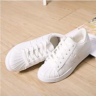 נשים נעלי ספורט נוחות PU אביב קיץ סתיו יומיומי הליכה שרוכים עקב שטוח לבן שחור ורוד שחור לבן מוזהב שטוח