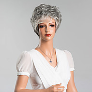 Curly Short Capless Wigs Top Quality Human Gray Hair Mixed Color 8 Inchs