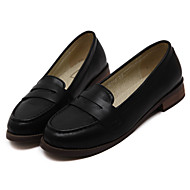 Women's Flats Spring / Summer / Fall / Winter Comfort PU Casual Chunky Heel Split Joint Black / Brown Others