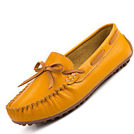 Women's Boat Shoes Comfort Leather Casual Flat Heel Slip-on Black / Yellow / White / Orange Others