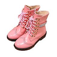 女の子用-カジュアル ドレスシューズ-PUレザー-フラットヒール-コンフォートシューズ-ブーツ-ブラック ピンク