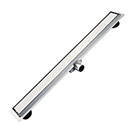 L 600mm Stainless Steel 304 Linear Horizontal Shower Drain with Surrounding Tile Flange Waste Channel with Side Outlet without Hole on Surface