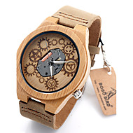 Bobo Bird B09 Exposed Movement Design Bamboo Wood Quartz Watches With White Real Leather Straps Skeleton Watch